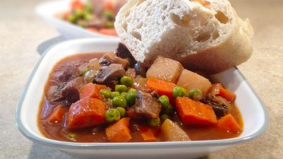 Classic beef stew with potatoes is an excellent cold weather comfort food. This easy beef stew recipe will warm your bones and fill your belly! | Tiny Kitchen Cuisine | https://tiny.kitchen