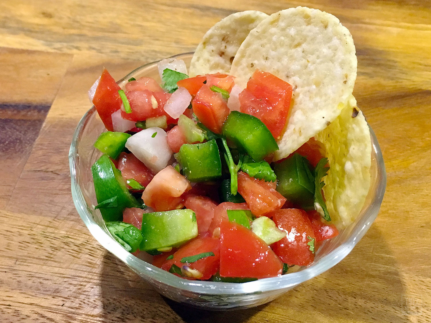 Pico De Gallo is a fresh mexican salsa. Spicy, fruity, and so easy to make, this recipe goes great with tortilla chips, quesadillas, or nachos. You can even put it on your tacos!   Tiny Kitchen Cuisine   http://tiny.kitchen