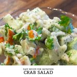 This easy Imitation Crab Salad recipe is a tasty seafood salad that is low in calories and packs a nice crunch.   Tiny Kitchen Cuisine   http://tiny.kitchen