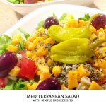This mediterranean salad recipe is a tasty summer salad that uses the bright flavors found in greek food. This simple healthy recipe is great as a lunch idea or a light dinner! | Tiny Kitchen Cuisine | http://tiny.kitchen