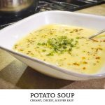 A vegetarian soup recipe that is filling! Cook up this easy potato soup recipe and you'll be eating creamy potato cheese soup in less than an hour! | Tiny Kitchen Cuisine | http://tiny.kitchen