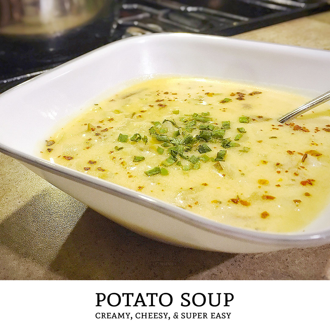 A vegetarian soup recipe that is filling! Cook up this easy potato soup recipe and you'll be eating creamy potato cheese soup in less than an hour! | Tiny Kitchen Cuisine | https://tiny.kitchen