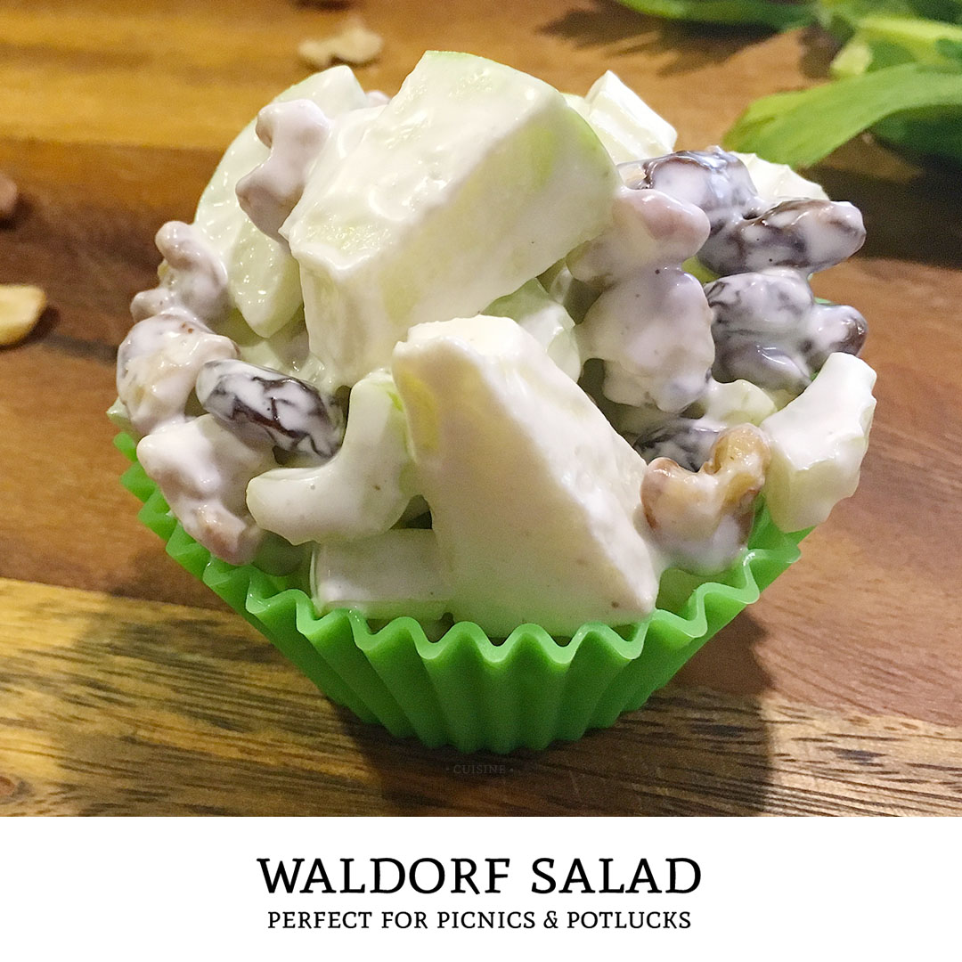 Sweet, tart, and crunchy! This classic waldorf salad recipe is the perfect side dish to bring along for your next potluck or picnic. | Tiny Kitchen Cuisine | http://tiny.kitchen