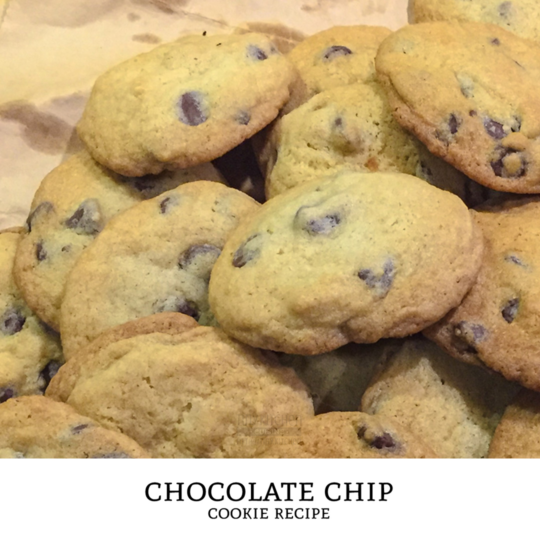 A classic chocolate chip cookies recipe! Semi-sweet chocolate chunks in a brown sugar cookie dough. Crunchy, chewy, sweet, and delicious! | Tiny Kitchen Cuisine | http://tiny.kitchen