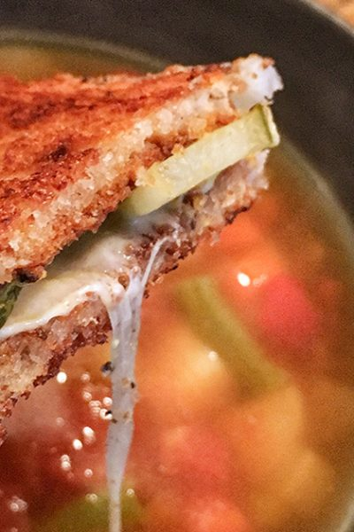 Recipe for a Deli-Style Grilled Cheese Sandwich with Provolone Cheese, Dill Pickles, and Mustard on Rye Bread. | Tiny Kitchen Cuisine | https://tiny.kitchen/