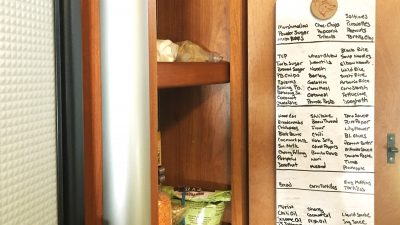 How to organize a small pantry with deep shelves.